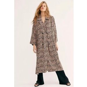 Free People Daria Leopard Shirtdress Trench Coat
